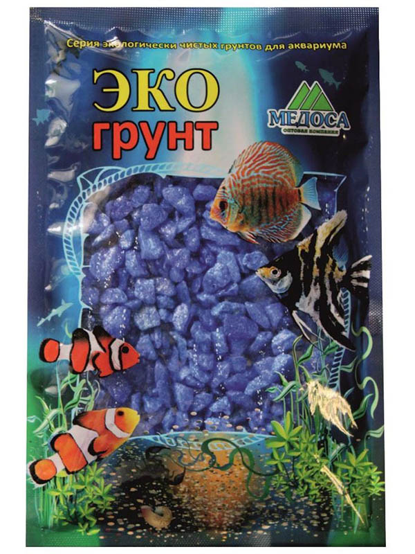 Цветная мраморная крошка Эко грунт 5-10mm 3.5kg Blue г-0243