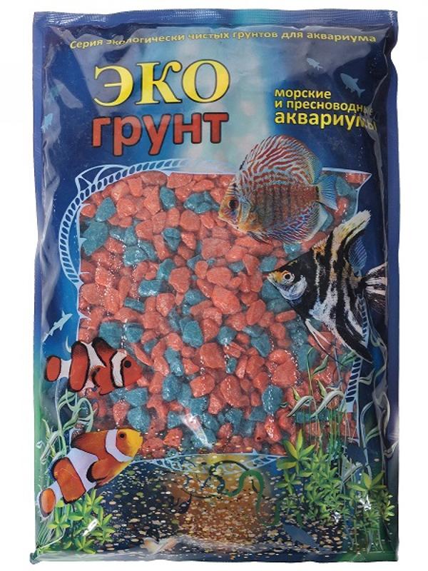 Цветная мраморная крошка Эко грунт 5-10mm 3.5kg Orange/Turquoise г-0281