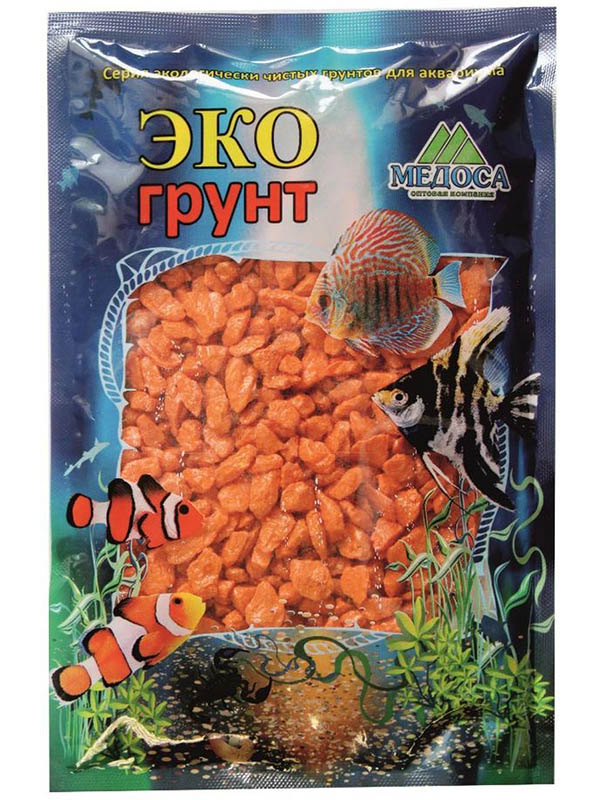 Цветная мраморная крошка Эко грунт 5-10mm 3.5kg Orange г-0212 фото