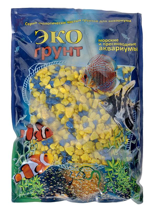 Цветная мраморная крошка Эко грунт 5-10mm 3.5kg Yellow/Blue г-0298