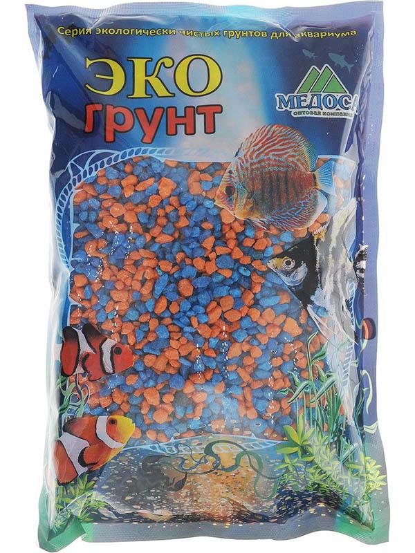 Цветная мраморная крошка Эко грунт 2-5mm 3.5kg Orange/Light Blue г-1011