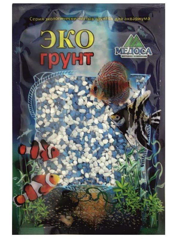 Цветная мраморная крошка Эко грунт 2-5mm 3.5kg White/Light Blue г-1012 фото