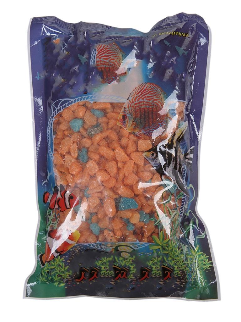 Цветная мраморная крошка Эко грунт 5-10mm 1kg Orange/Turquoise 130019