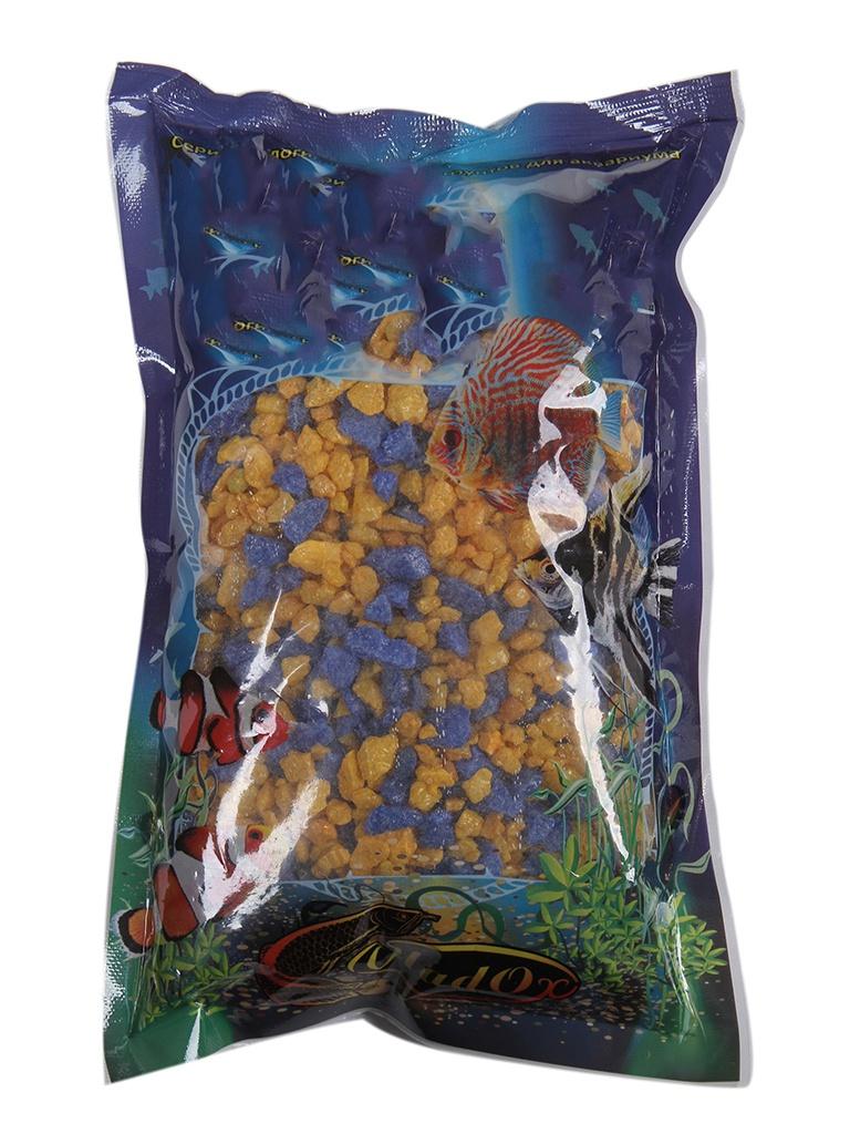 Цветная мраморная крошка Эко грунт 5-10mm 1kg Yellow/Blue 290012
