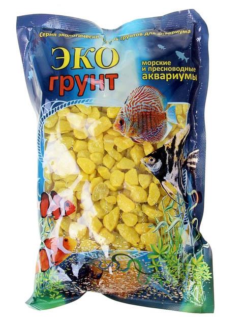Цветная мраморная крошка Эко грунт 5-10mm 1kg Yellow 440011
