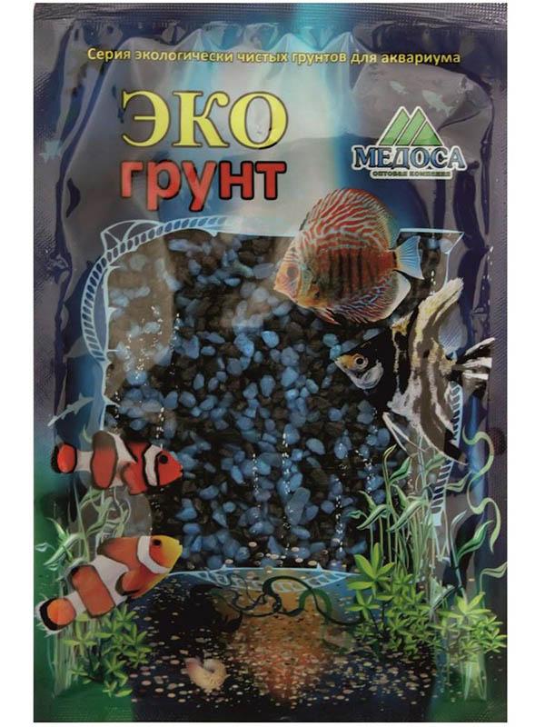 Цветная мраморная крошка Эко грунт 2-5mm 1kg Black/Light Blue 500038