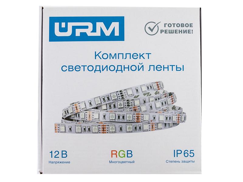 Светодиодная лента URM SMD 5050 60 LED 12V 14.4W 840lm IP65 RGB 2x 5.0m N01006