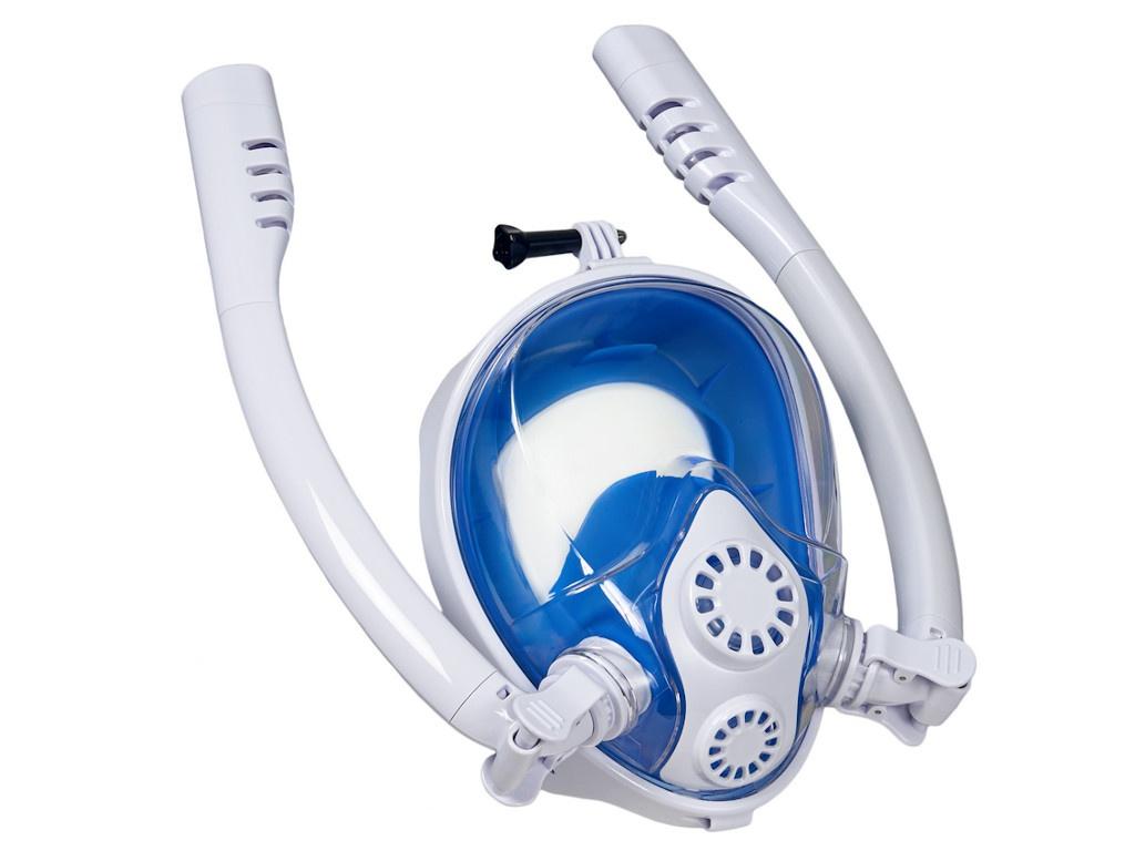 Фото - Полнолицевая маска для снорклинга Bradex с двумя трубками L SF 0554 маска для снорклинга bradex l light blue sf 0370