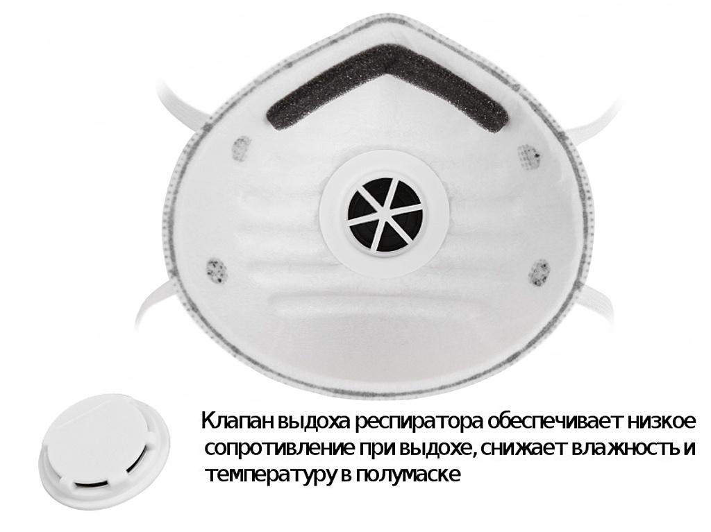 Защитная маска Uspex 12380 трехслойная класс защиты FFP1 (до 4 ПДК) + с угольным фильтром и дыхательным клапаном