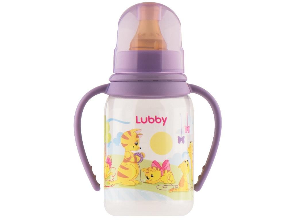 Бутылочка с соской Lubby Веселые животные 125ml от 0 мес. Purple 11390