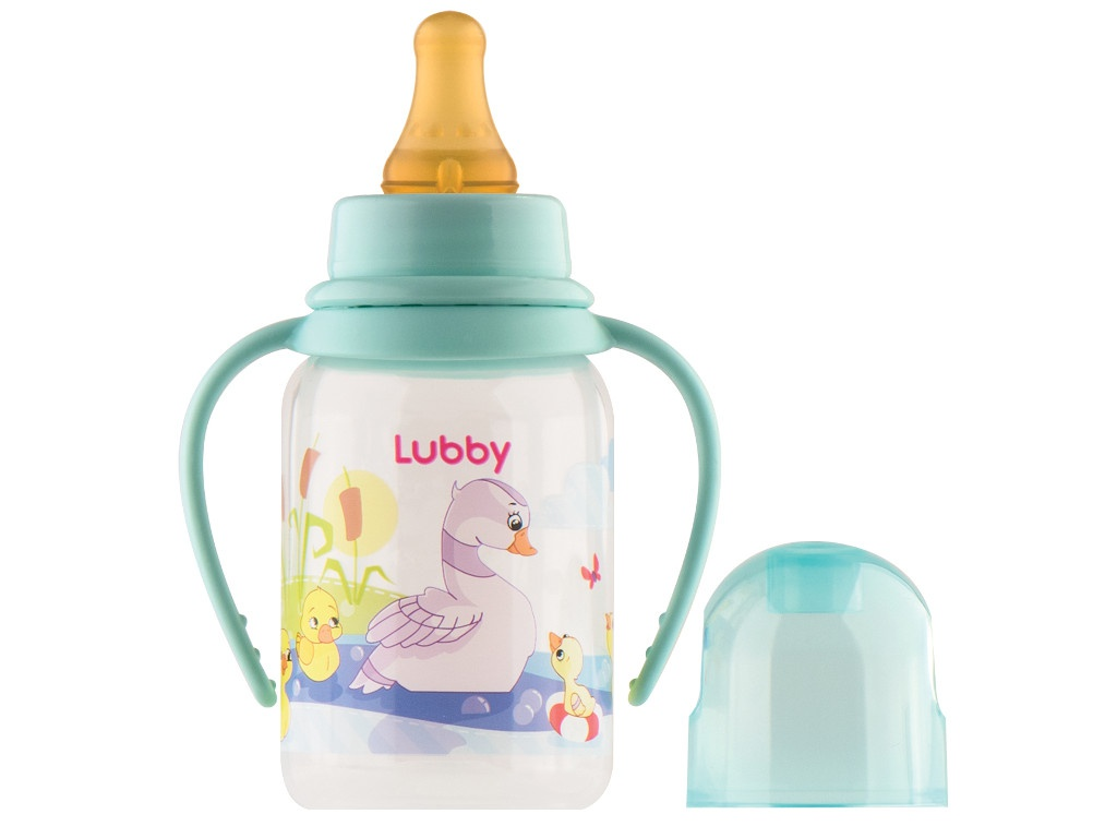 Бутылочка с соской Lubby Веселые животные 125ml от 0 мес. Green 11390