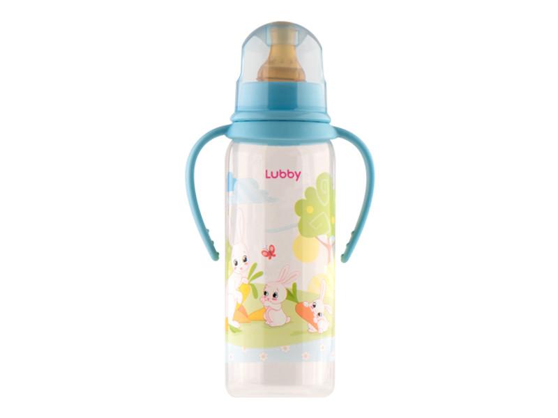 Бутылочка с соской Lubby Веселые животные 250ml от 0 мес. Light Blue 11389 lubby круг на шею для купания