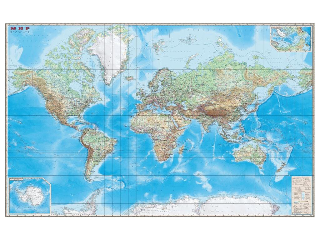Карта настенная DMB Мир. Обзорная карта. Физическая с границами 192x140cm 293