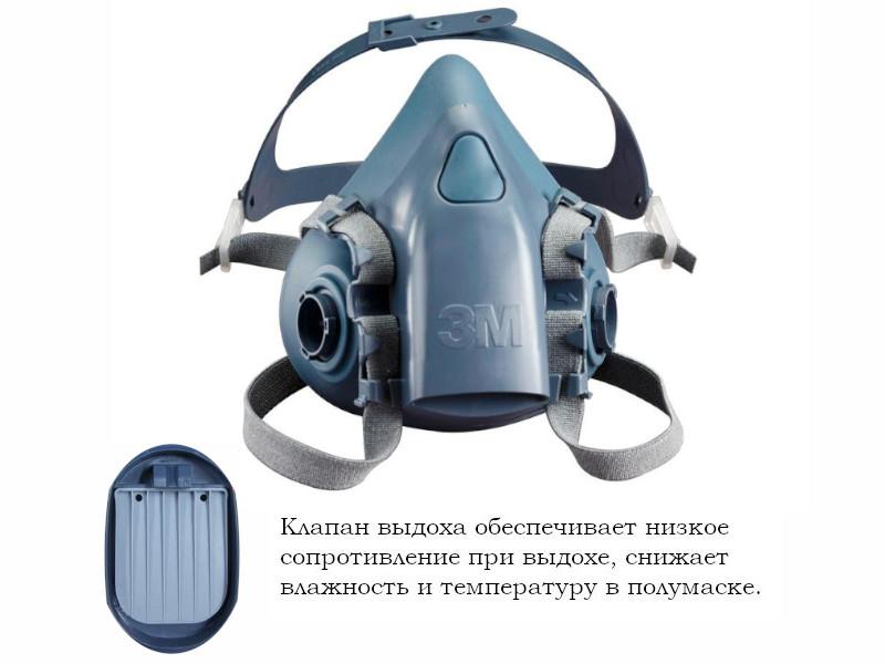 Респиратор 3M 7502 класс защиты FFP 3 (до 50 ПДК) р.M 7000104177