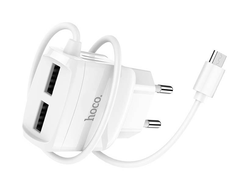 Зарядное устройство Hoco C59A Mega Joy Double Port + MicroUSB White