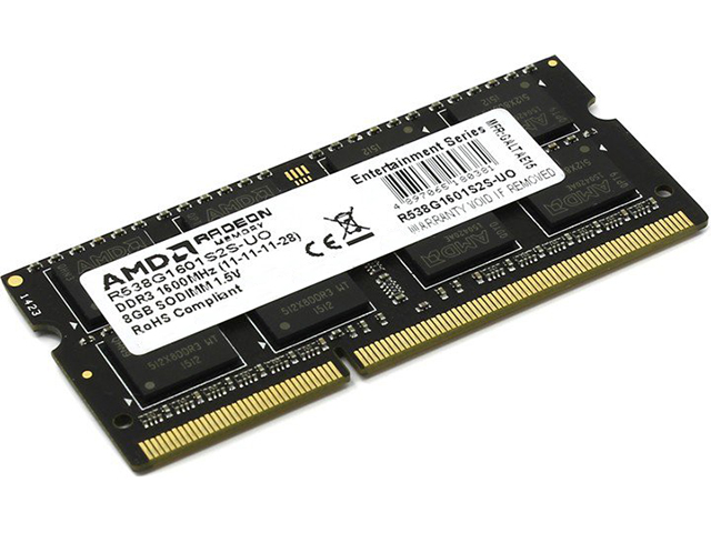 Модуль памяти AMD DDR3 SO-DIMM 1600MHz PC-12800 CL11 - 8Gb R538G1601S2S-UO