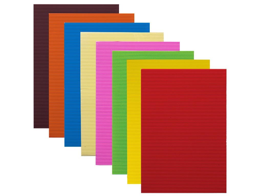 Цветная бумага Остров Сокровищ A4 160g/m2 Гофрированная 8 листов цветов 129293