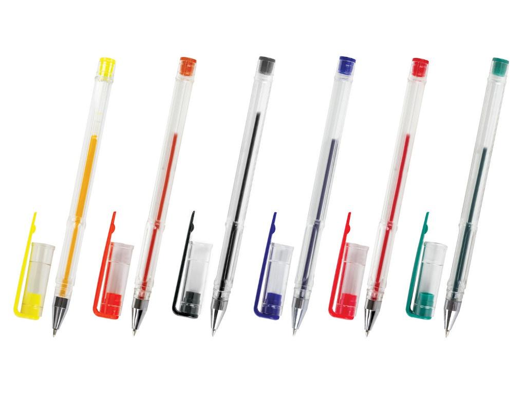 Ручки гелевые Пифагор Классические 0.35mm 6шт корпус Transparent 142793