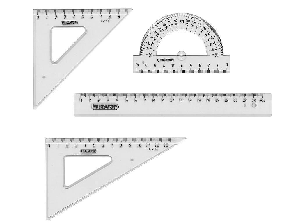 Набор чертежный средний Пифагор Transparent 210627