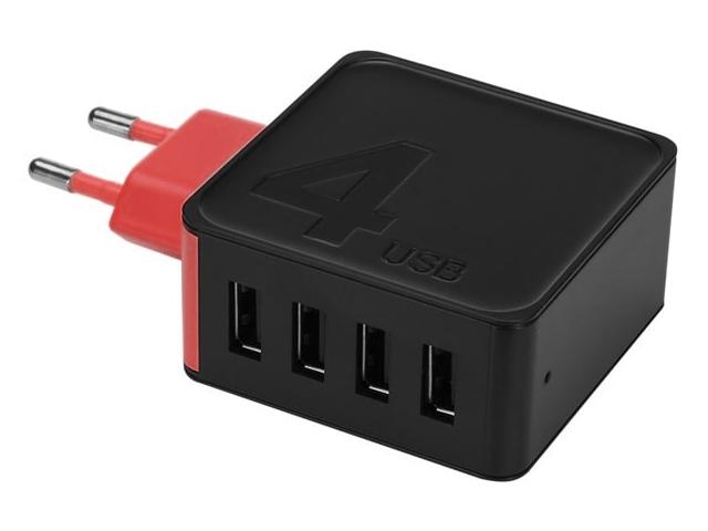 Зарядное устройство Rock Space Sugar Travel Charger 4xUSB 4A Black-Red RWC0236 75283 зарядное