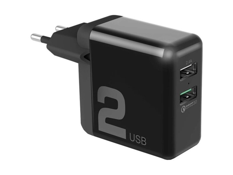 Зарядное устройство Rock Space T13 Dual Port QC3.0 Travel Charger Black QC02 75572