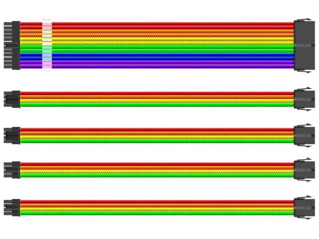 Аксессуар Комплект кабелей-удлинителей для БП 1stPlayer 1x24-pin ATX 350mm RB-001