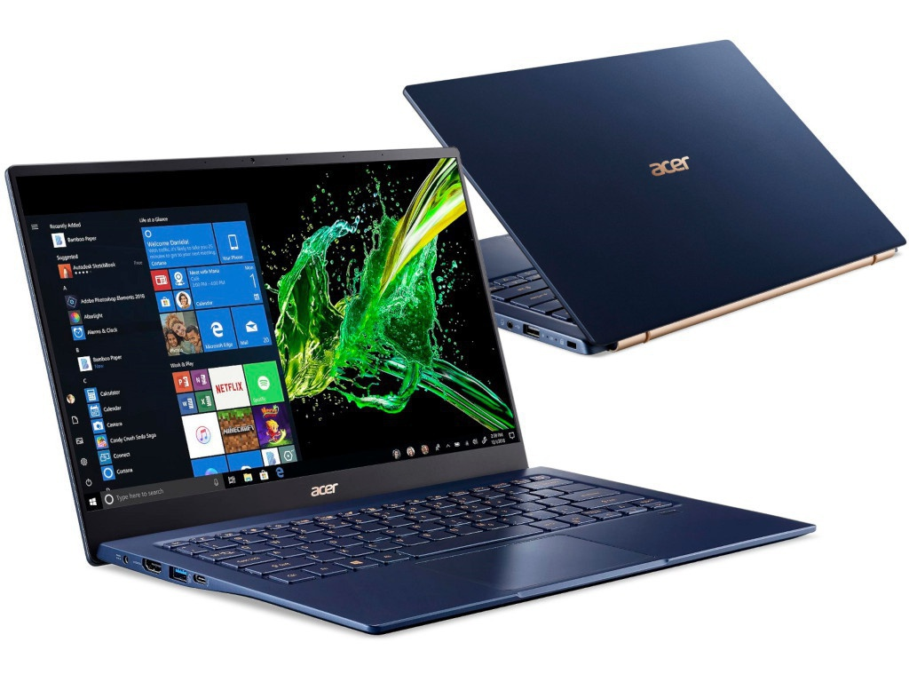 Ноутбук Acer Swift 5 SF514-54T-759J Blue NX.HHYER.003 (Intel Core i7-1065G7 1.3 GHz/16384Mb/1024 SSD/Intel HD Graphics/Wi-Fi/Bluetooth/Cam/14.0/1920x1080/Touchscreen/Windows 10 Home 64-bit)