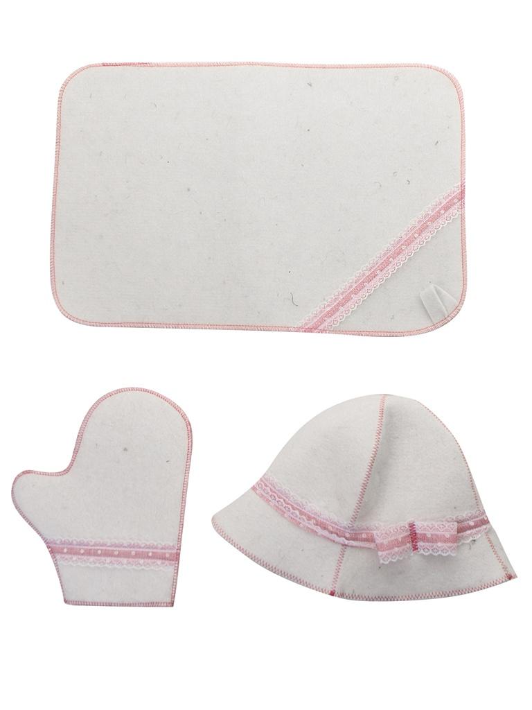 Набор для бани Жар-Банька Розовое кружево:шапка,коврик,рукавичка White-Pink