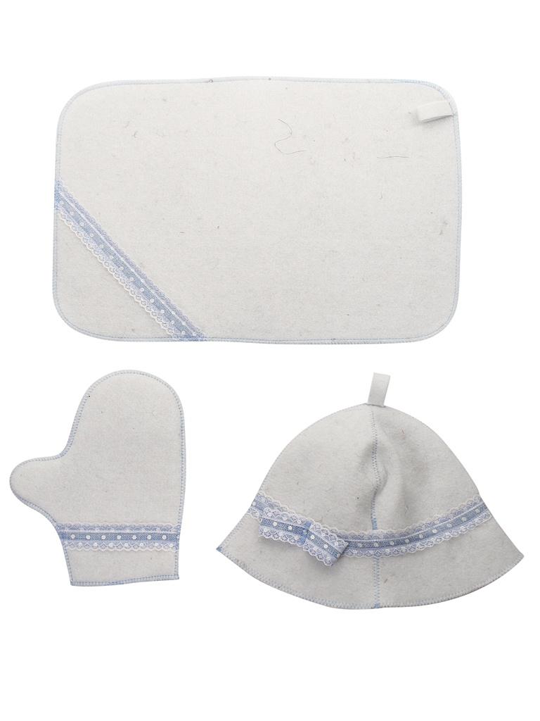 Набор для бани Жар-Банька Голубое кружево:шапка,коврик,рукавичка White-Light Blue