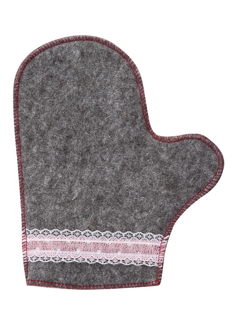 Рукавица для бани Жар-Банька Розовое кружево Grey-Pink