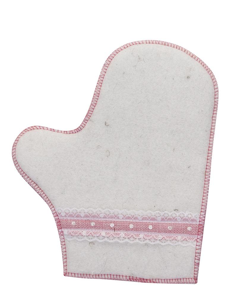 Рукавица для бани Жар-Банька Розовое кружево White-Pink