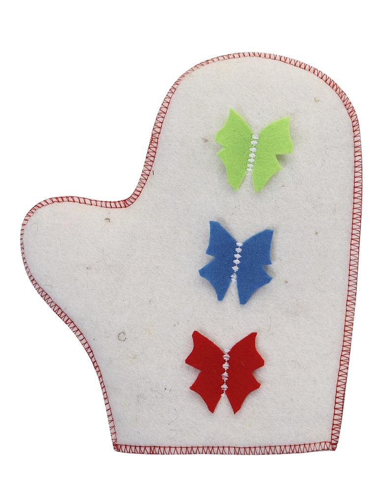 Рукавица для бани Жар-Банька Полёт бабочек White