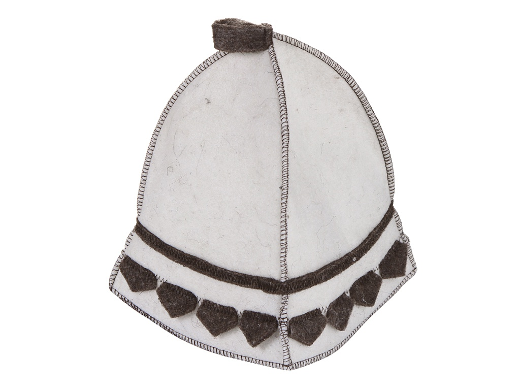 Шапка Жар-Банька Богатырская White с коричневым декором четыре клина