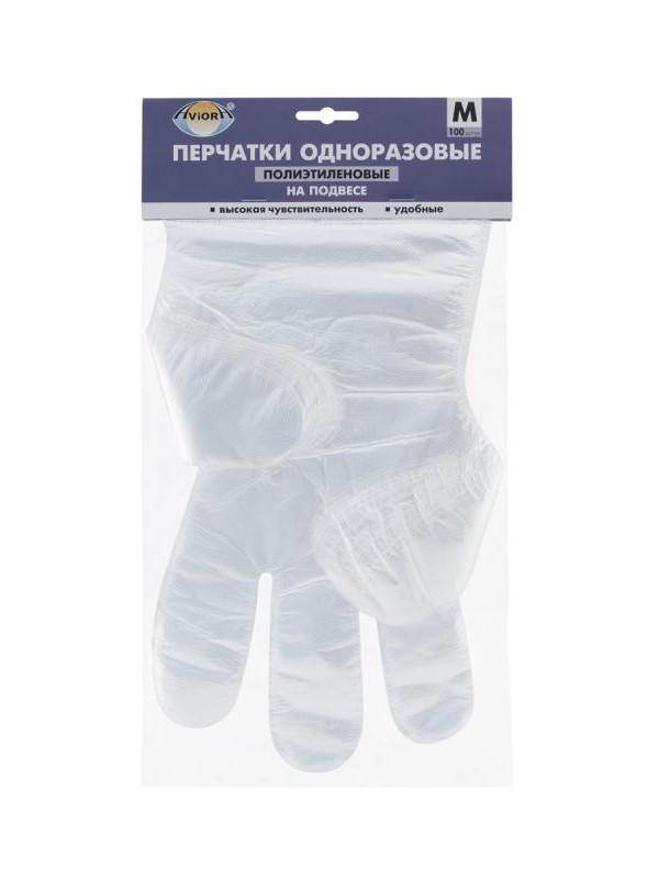 Перчатки полиэтиленовые Aviora размер М 100шт 402-815