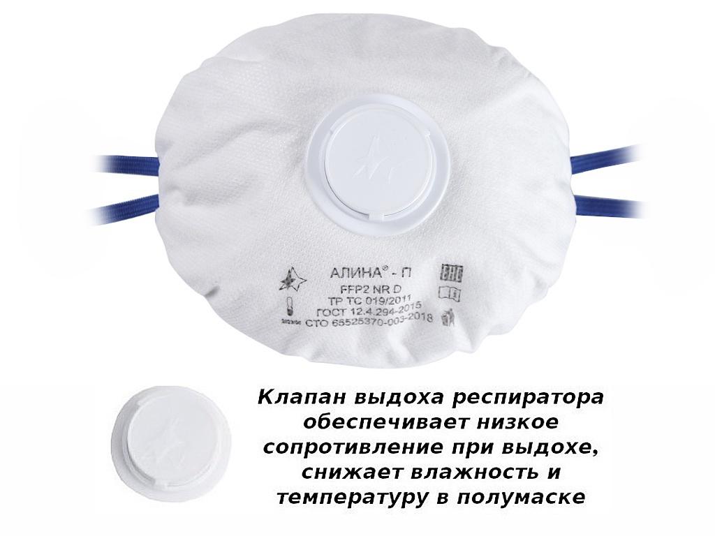 Защитная маска Алина П класс защиты FPP2 (до 12 ПДК) с клапаном
