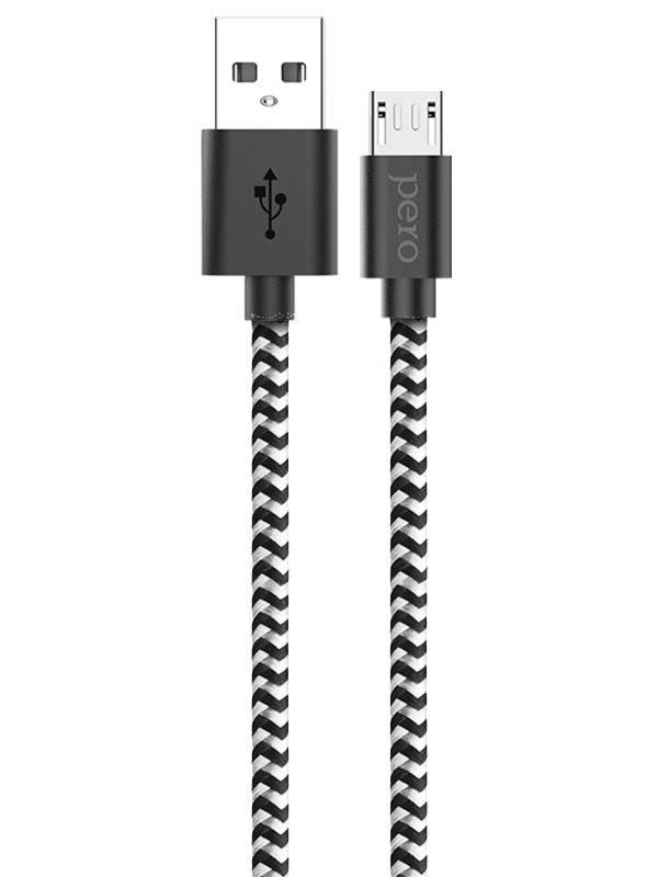 Аксессуар Pero DC-04 USB - microUSB 2A 1m Silver-Black PRDC-04MU1MSB