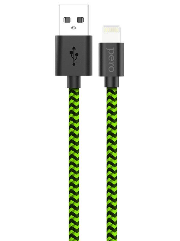 Аксессуар Pero DC-04 USB - Lightning 2A 2m Green-Black PRDC-048P2MGB