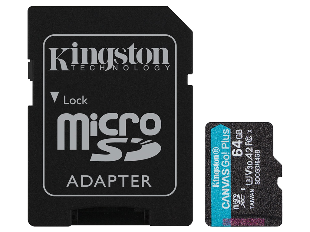 Карта памяти 64Gb - Kingston Canvas Go! Micro Secure Digital HC Class10 UHS-I Select + SD Adapter SDCG3/64GB с переходником под