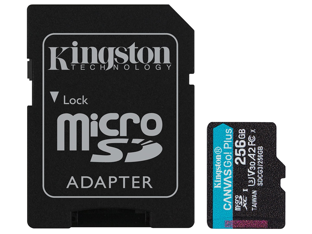 Карта памяти 256Gb - Kingston Canvas Go! Micro Secure Digital HC Class10 UHS-I Select + SD Adapter SDCG3/256GB с переходником под