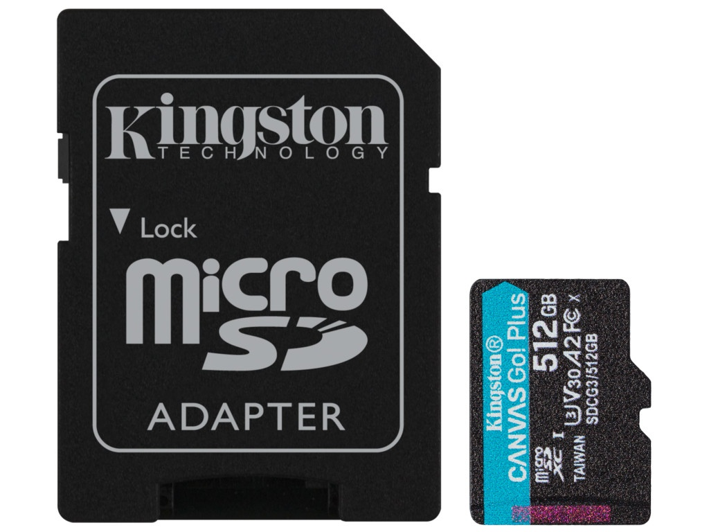 Карта памяти 512Gb - Kingston Canvas Go! Micro Secure Digital HC Class10 UHS-I Select + SD Adapter SDCG3/512GB с переходником под