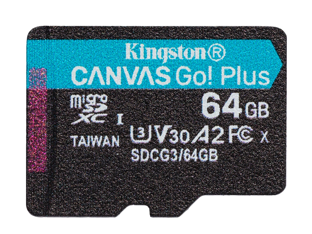 Карта памяти 64Gb - Kingston MicroSDHC 170R A2 U3 V30 Canvas Go Plus SDCG3/64GBSP