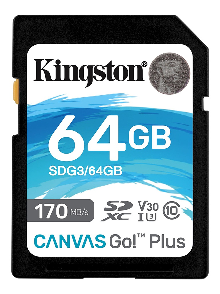 Карта памяти 64Gb - Kingston SDHC 170R C10 UHS-I U3 V30 Canvas Go Plus SDG3/64GB