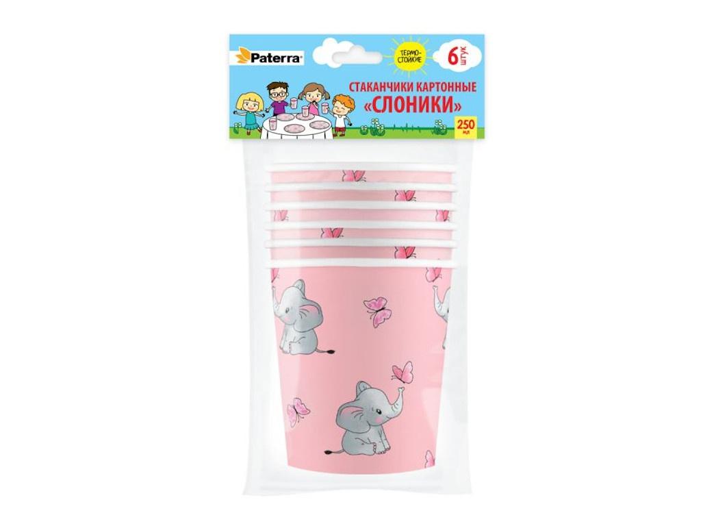 Бумажные стаканы Paterra Слоники 250ml 6шт 401-864