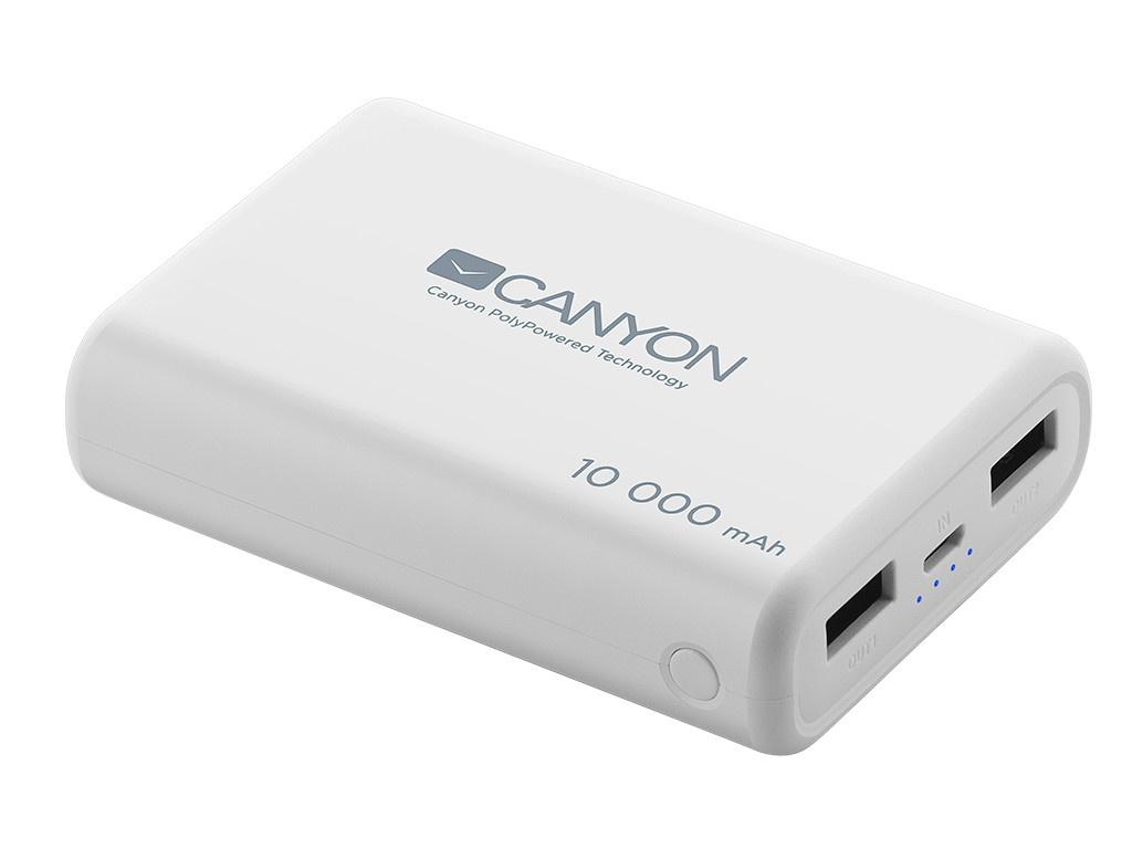 Внешний аккумулятор Canyon Power Bank 10000mAh White CNS-CPBP10W