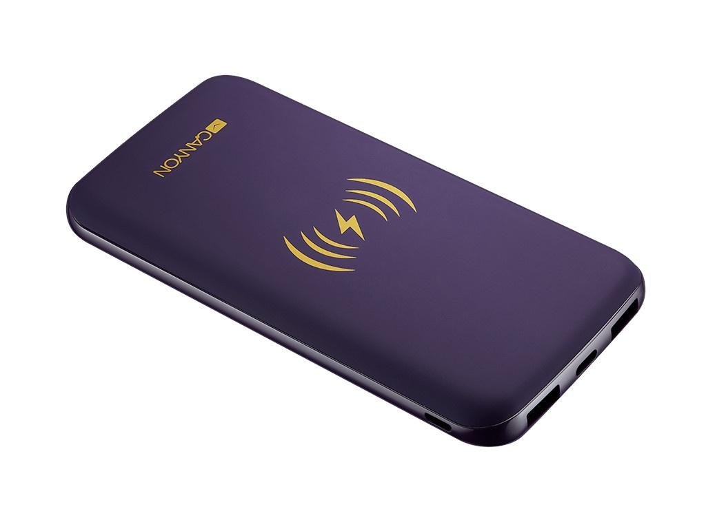 Внешний аккумулятор Canyon Power Bank Builted in Wireless Charger Function 8000mAh Purple CNS-TPBW8P