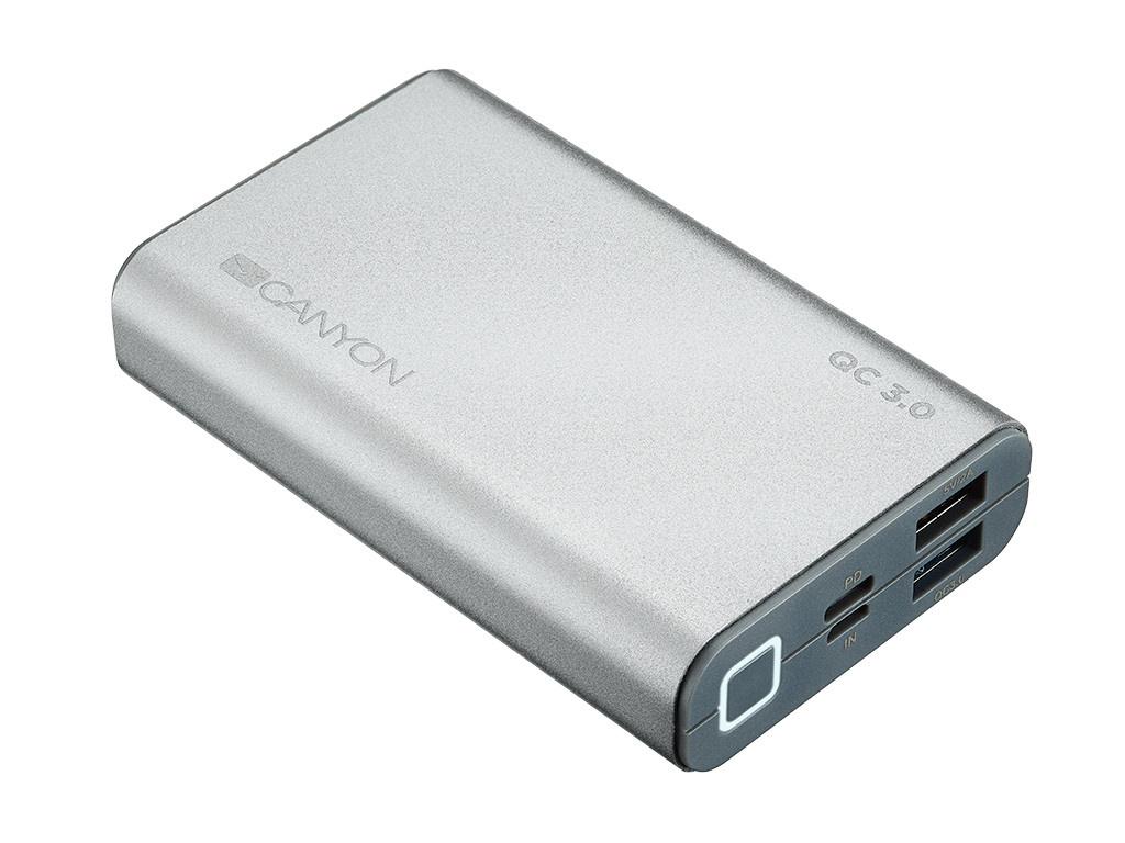 Внешний аккумулятор Canyon Power Bank 10000mAh Silver CND-TPBQC10S