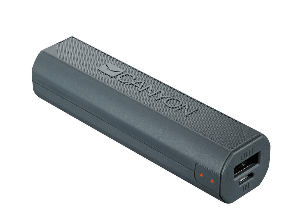 Внешний аккумулятор Canyon Power Bank 2600mAh Dark Grey CNE-CPBF26DG