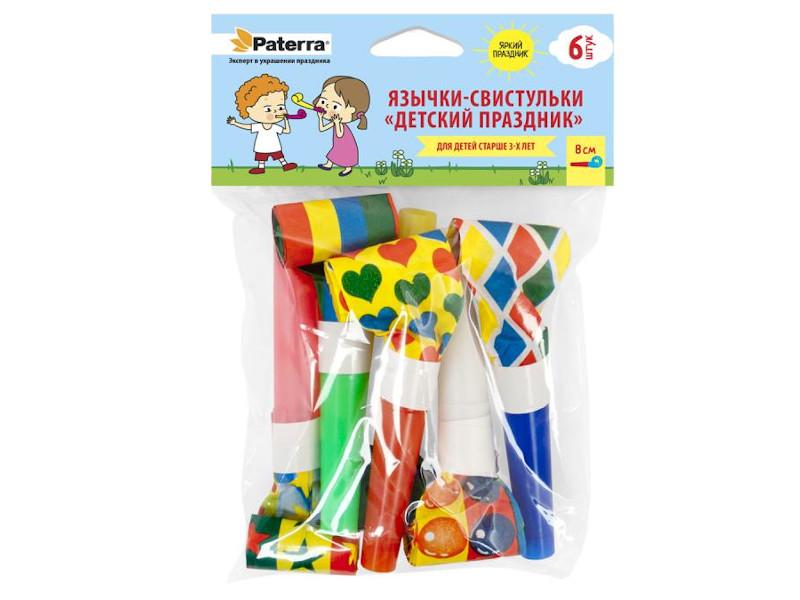 Фото - Праздничные язычки-свистульки Paterra Детский праздник 6шт 401-216 бумажные трубочки paterra праздник для принца 6x200mm 15шт 401 895