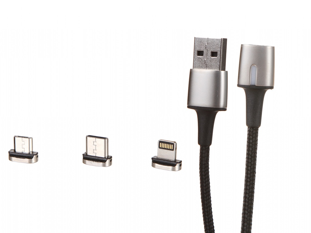 Аксессуар Baseus Zinc Magnetic Cable Kit Lightning + Type-C MicroUSB 2m Black TZCAXC-B01