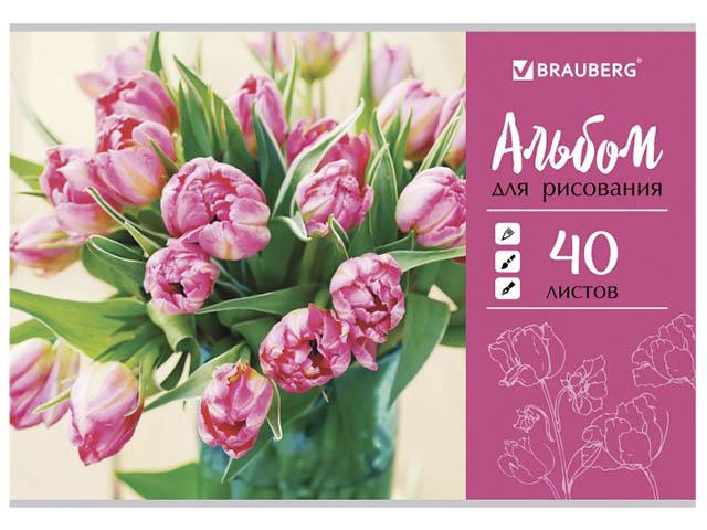 Альбом для рисования Brauberg Тюльпаны 202x285mm А4 40 листов 105088